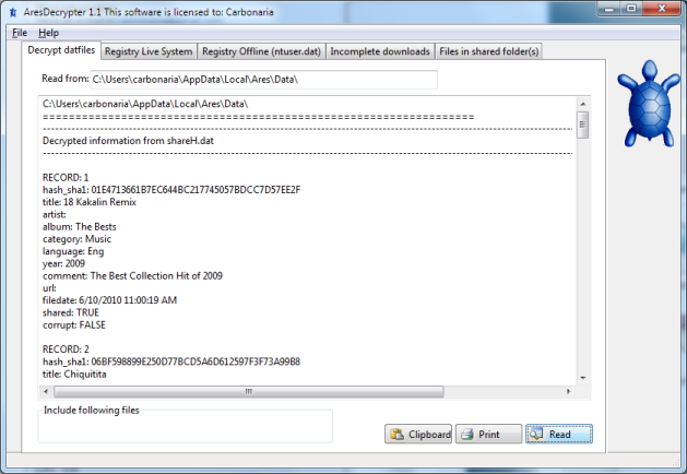 Ares Dat File Decryptor